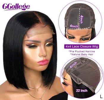 4x4 Lace Closure Wig Straight Bob Short Human Hair Wigs 13x4 Lace Front Human Hair Wigs For Women Peruvian Pre Plucked Non-Remy straight human hair wigs pre plucked peruvian 13x4 lace front wig 150 dens middle part remy lace front human hair wigs for women