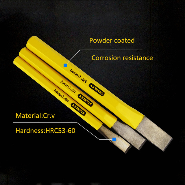 Stanley steel cold chisel stone carving cement concrete mason sharpening chisels tools DIY rasp chisel champ10 12 16 19 22 25mm 2