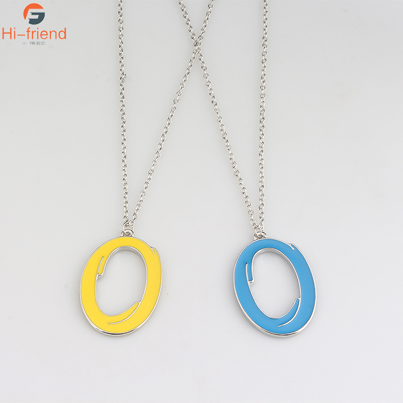 New Portal Blue Orange Circle Double Enamel Necklace Men And Women Jewelry Accessories Gift