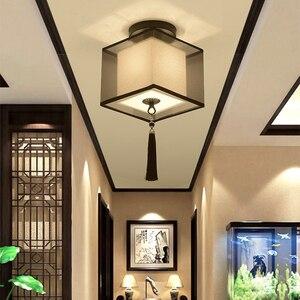 Image 5 - Klassischen Japanischen Led Decke Lampe Vintage Retro Suspension Leuchte Stoff Schatten Oberfläche Montieren Chinesische Decke Leuchten