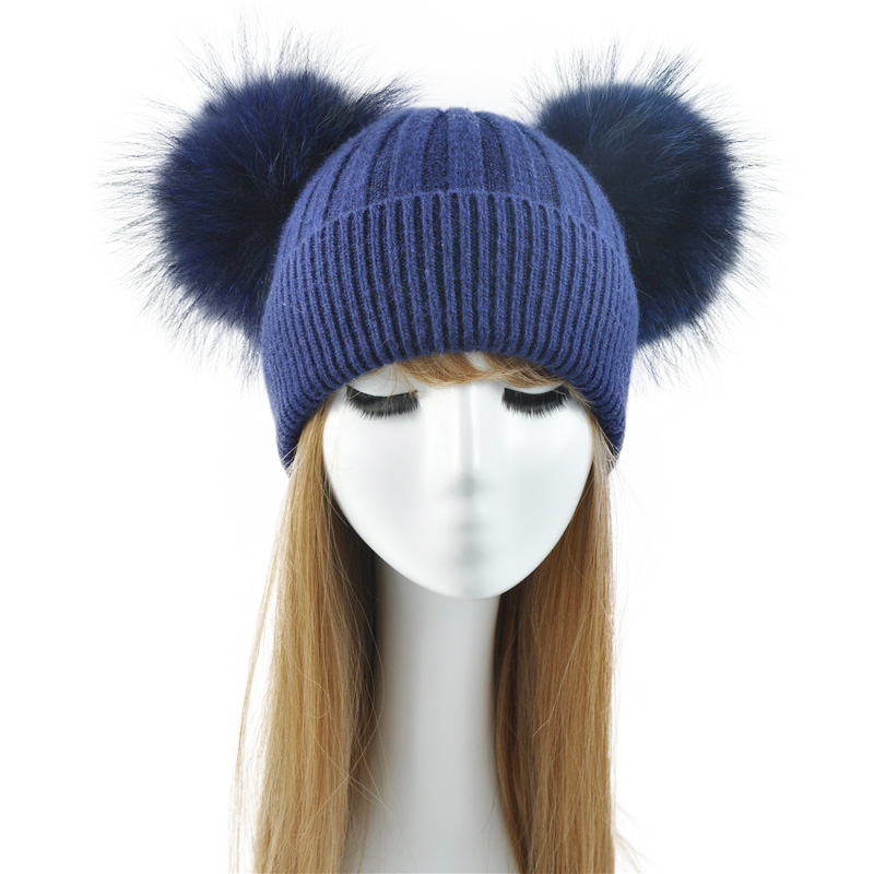 Double Real Raccoon Fur Pompom Hat Women Winter Caps Knitted Wool Hats Skullies Beanies Girls Female Two Fur Pom Pom Beanie Hat