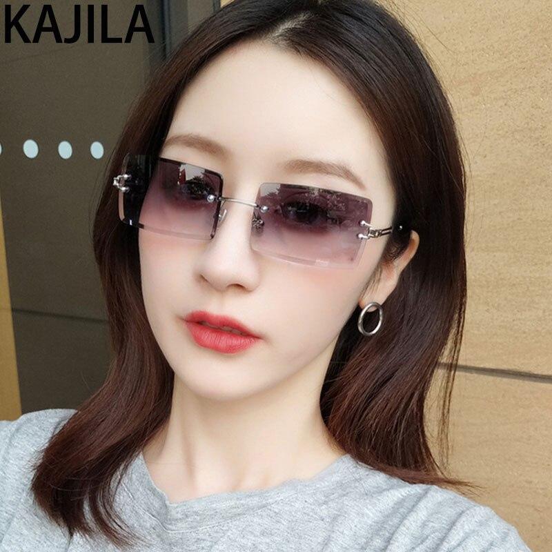 Small Rectangle Rimless Sunglasses Women Square Luxury Brand Design Ladies Sun Glasses For Women Shades lunette de soleil femme