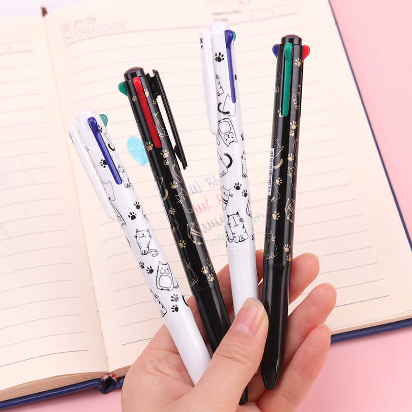 1PC 4 In 1 Four-Color Ballpoint Pen Core 0.5mm Multi-Color Color Pressure Ball Office School Stationery Supplies
