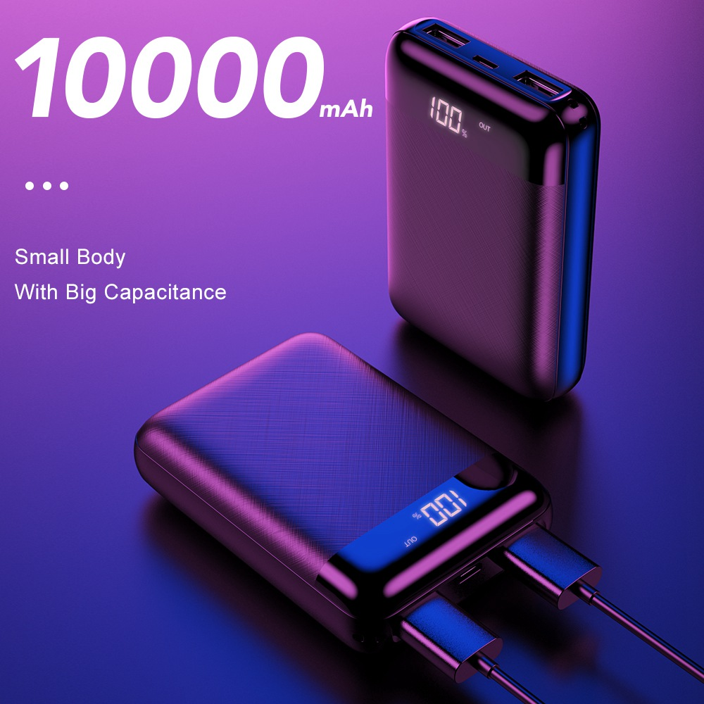 FLOVEME Mini Power Bank 10000mAh LED Display Powerbank For Xiaomi <font><b>10000</b></font> <font><b>mAh</b></font> USB Poverbank External <font><b>Battery</b></font> <font><b>Pack</b></font> Portable Charger image