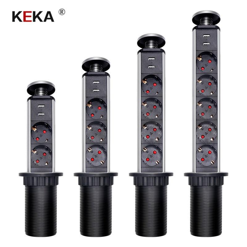 KEKA EU Plug 2 3 4 5 power Kitchen Table Electrical Socket Desktop Sockets Power 1 Led 2 charge USB Aluminum Shelf
