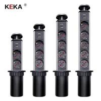 KEKA EU Plug 2/3/4/5 power Kitchen Table Electrical Socket Desktop Sockets Power 1 Led+2 charge USB Aluminum Shelf|Electrical Sockets|   -