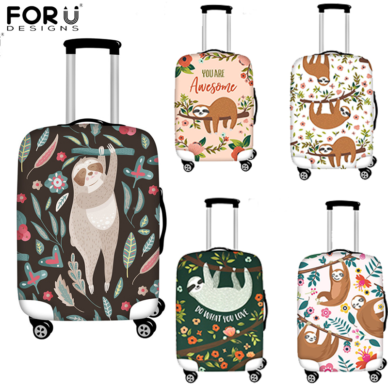 FORUDESIGNS Sloth Animal Print Travel Accessories Luggage Bag Trolley Elastic Luggage Cover Apply For 18-32 Inch Suitcase Case