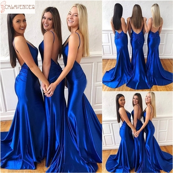 Royal Blue suknie dla druhen o kroju syreny głębokie dekolt w serek Boho suknie Maid Of Honor Sweep Train arabskie suknie ślubne gości tanie i dobre opinie SCALAVENDER Długość podłogi Syrenka trąbka Kochanie Bez rękawów Draped Dla dorosłych SCA-0906009 Suknie druhna Off the Shoulder