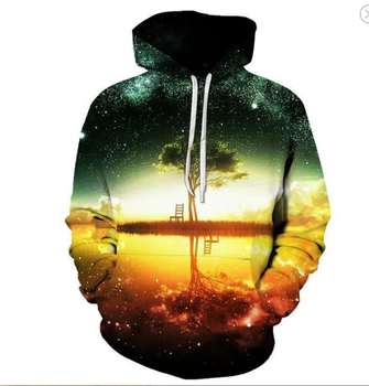 Fall 2020 men's fashion streetwear comfort long sleeve pullover sport hoodie new design of 3D color printed riverside reflection