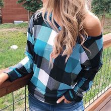OEAK 2019 New Autumn Winter Women Plaid Printed Crewneck T-Shirt Loose Long Sleeve Outerwear T-Shirts Fashion Tops