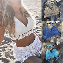 2020 New Bikini Top Handmade Crochet Women Boho Beach Bralette Solid Halter Knitted Swimsuit Brazilian Bikinis Bathing Suit Top