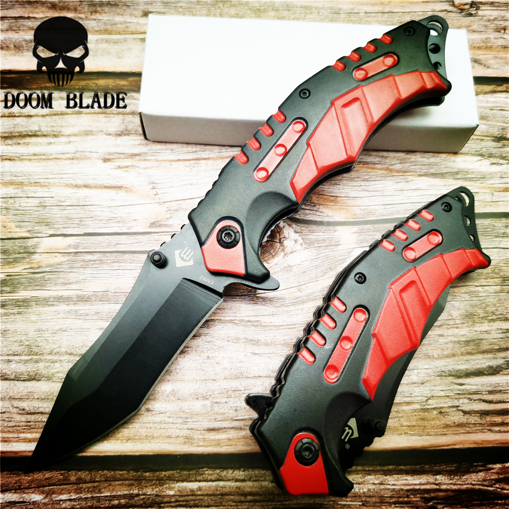 205mm 5CR15MOV Blade Knives Folding Knife with RED Lightweight Plastic Handle Collection Camping Hunting Keychain Gift Knives(China)