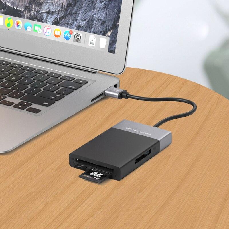 6 In 1 Multi Memory Card Reader Shell PVC Wire 2 Port HUB USB 3.0 To XQD/TF/Secure Digital Card Card Reader