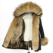 سترة شتوية مضادة للماء للنساء معطف فرو ثعلب حقيقي معطف كبير طبيعي من الفرو الراكون سميك دافئ طويل باركاس جديد