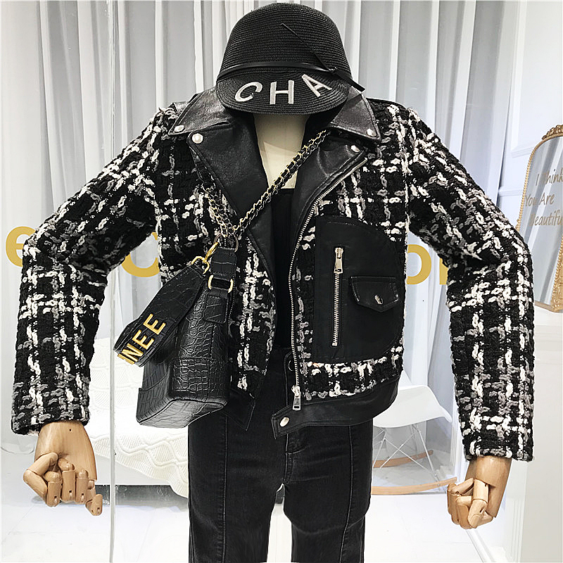 Tweed Women   leather   Coats Jackets 2019 Fall Streetwear Pockets Turn-down Collar Fasihon Women's Jackets Patchwork PU coat PY87