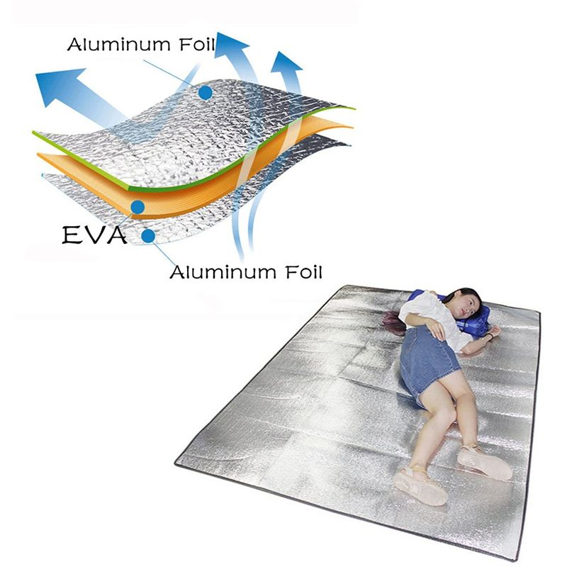 Double Sided Foldable Waterproof Aluminum Foil Mat Portable Outdoor Camping HikingTravel Beach Mat Sleeping Mattress
