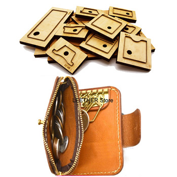 Japan Steel Blade DIY Leather Craft Zipper Snap Button Coin Bag Key Ring Wallet Knife Mould Wooden Die Cutting Set Hand Punch