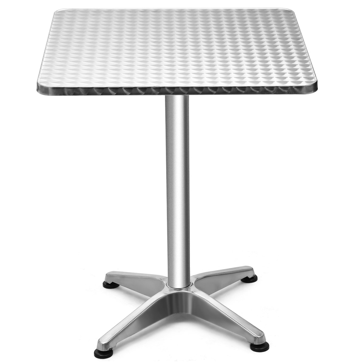 Folding 23.5'' Aluminium Square Bar Table 2 Height Indoor Outdoor Bistro W/ Base