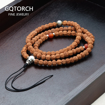 Rudraksha Bodhi Seeds Necklace Handmade DIY Rosary 108 Beads Buddhism Jewelry With 925 Sterling Silver Mantra Beads Charm