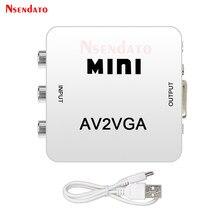 Conversor de vídeo do conversor do vídeo de hd av2vga caixa av rca cvbs ao conversor de vídeo de vga com áudio de 3.5mm ao conversor de hdtv do computador