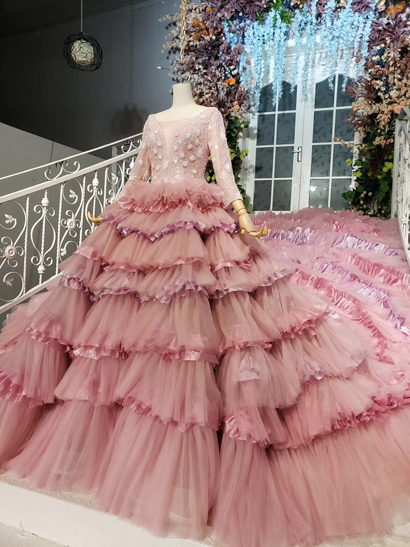 2020 Blush Pink Long Sleeves Evening Dress Robe De Soiree Tiered Ruffled Princess Tutu Banquet Prom Dresses Formal Abendkleider