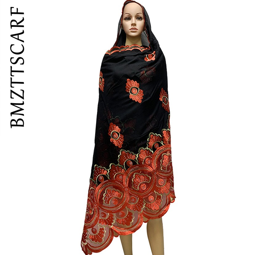 High Quality African Women Scarfs Muslim Embroidery Soft Cotton Splicing Big Scarf For Shawls Wraps Pashmina BM946