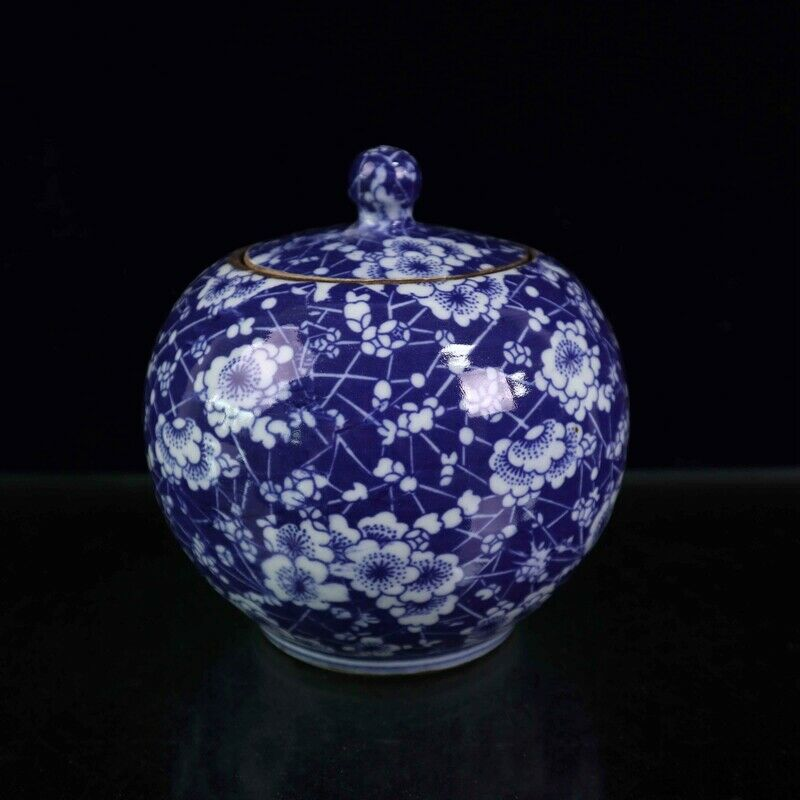 Chinese Old Porcelain Blue and White Ice Plum Covered Jar Receiving Pot