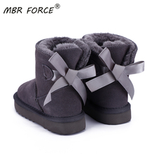 MBR FORCE 2020 New Fashion Children Genuine leather fur short ankle shoes for Boys Girls keep warm winter All-match Snow Boots