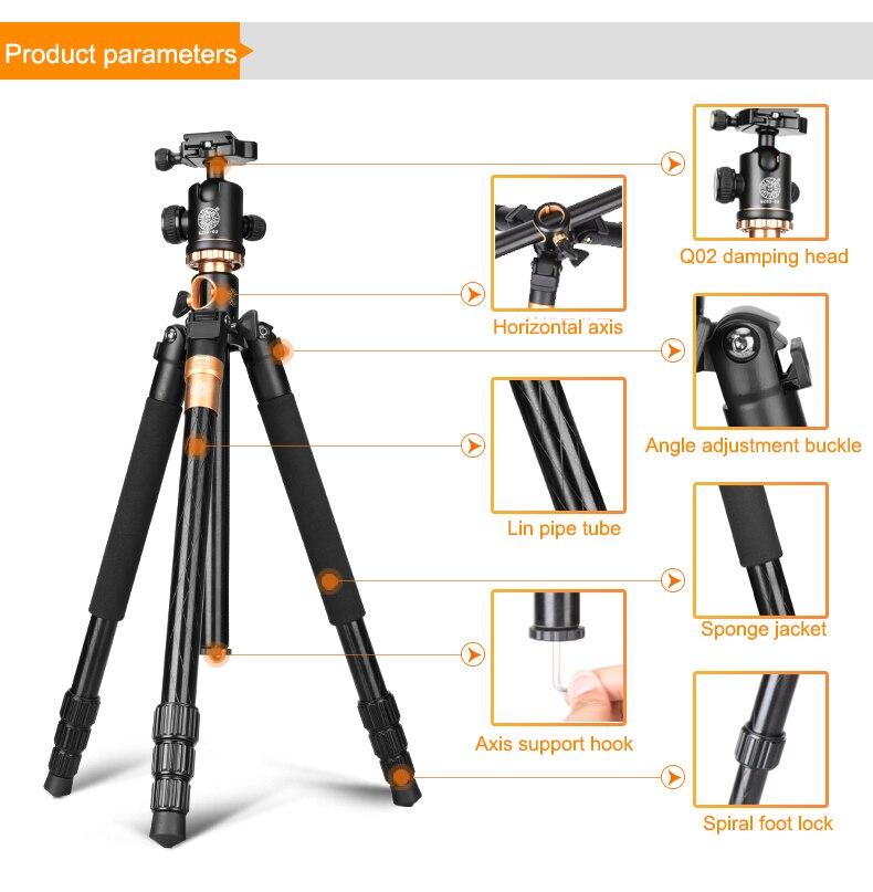 q999h profissional câmera tripés 61 Polegada para