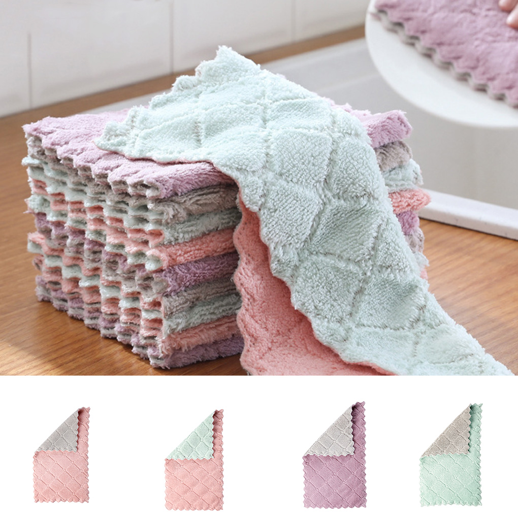 5/8pcs Kitchen Anti-grease Wiping Rags Efficient Super Absorbent Microfiber Cleaning Cloth Washing Dish Kitchen Cleaning Towel