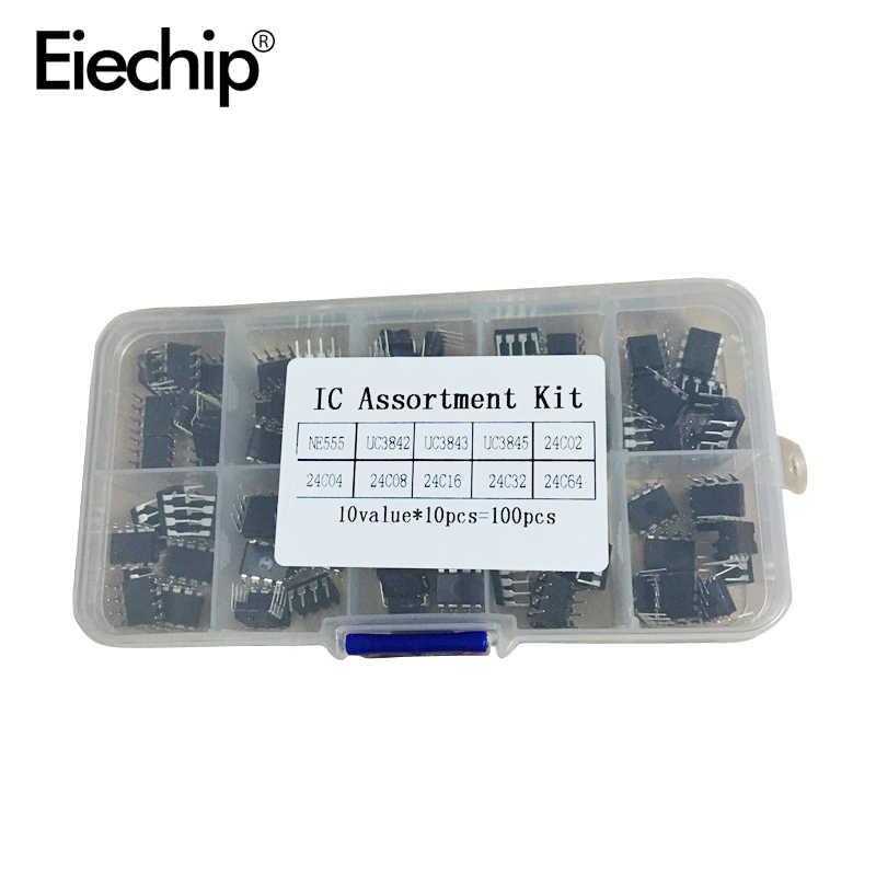 100 قطعة/الوحدة في الاستعمال الشائع DIP IC عدة NE555 UC3842 UC3843 UC3845 24C02 24C04 24C08 24C16 24C32 24C64 DIP كل 10 قطعة