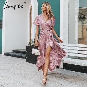Image 2 - Simplee 레이스 업 레오파드 프린트 섹시한 긴 드레스 여름 v 넥 짧은 소매 도트 플러스 사이즈 드레스 여성 우아한 분할 패션 드레스