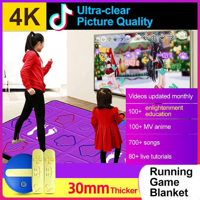 Wired Dancing Mat Pad Computer TV Slimming Dance Blanket with Two Somatosensory Gamepad a Colored Lights Version Pump It Up Game