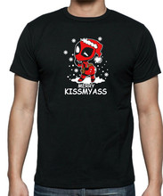 Unisex + Couberam T-Shirt Engraçado Cómico Deadpool Alegres Kissmyass Natal Digital Impresso Camiseta(China)