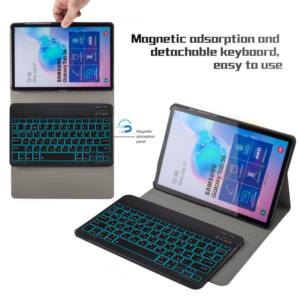 For Samsung Galaxy Tab S6 SM-T860 T865 Tablet 7 Colors Backlit Russian Spanish USA Bluetooth Keyboard Leather Flip Stand Case