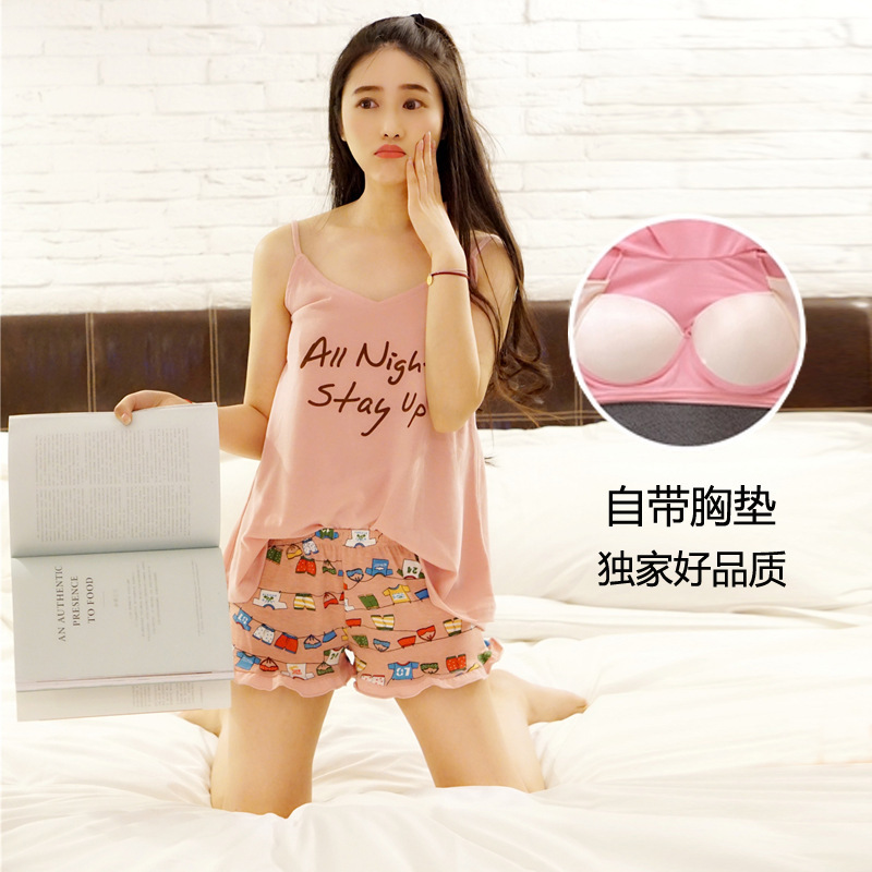 Summer Suspender Shorts Set Lettered Sports Casual Tracksuit Women's And Chest Pad Pajamas Factory Price