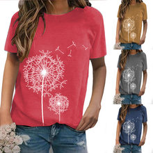 Women's Summer Fashion Printed Dandelion Round Neck Plus Size T Shirts Casual Loose Tops S-5XL