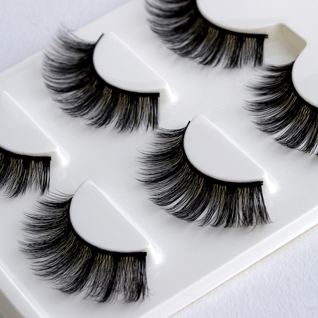 3 Pairs Natural False Eyelashes Beauty Make up Thick Cross Voluminous Messy Style Eye Lashes Extension Women Fashion Makeup Tool 2
