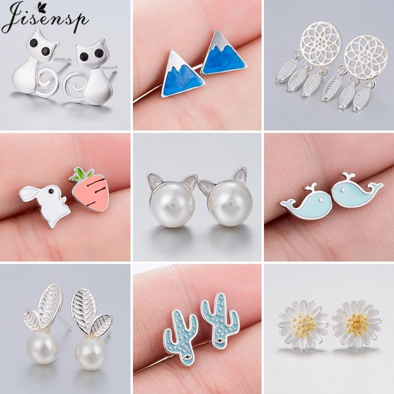 Orecchini piccoli moda multipla per donna gioielli Boho perla geometrica gatto balena montagna orecchini borchie gioielli penetranti 2021