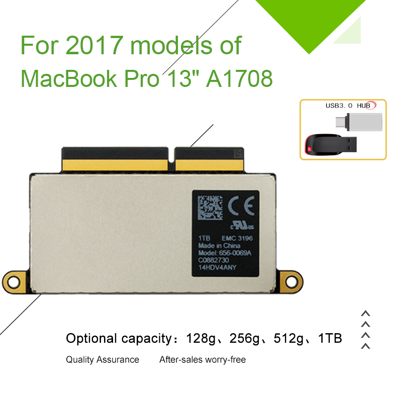 """A1708 Laptop SSD 128GB 256GB for Macbook Pro Retina 13.3"""" 2017 Year 1708 Solid State Disk PCI-E EMC 3164 EMC 2978(China)"""