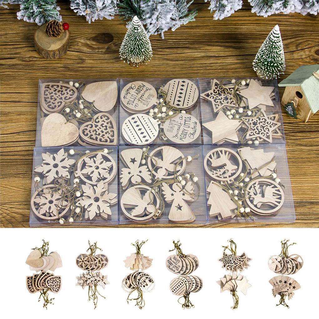 12Pcs Wood Christmas Snowflake//Star//Angel Ornaments Hanging Xmas Tree Decoration