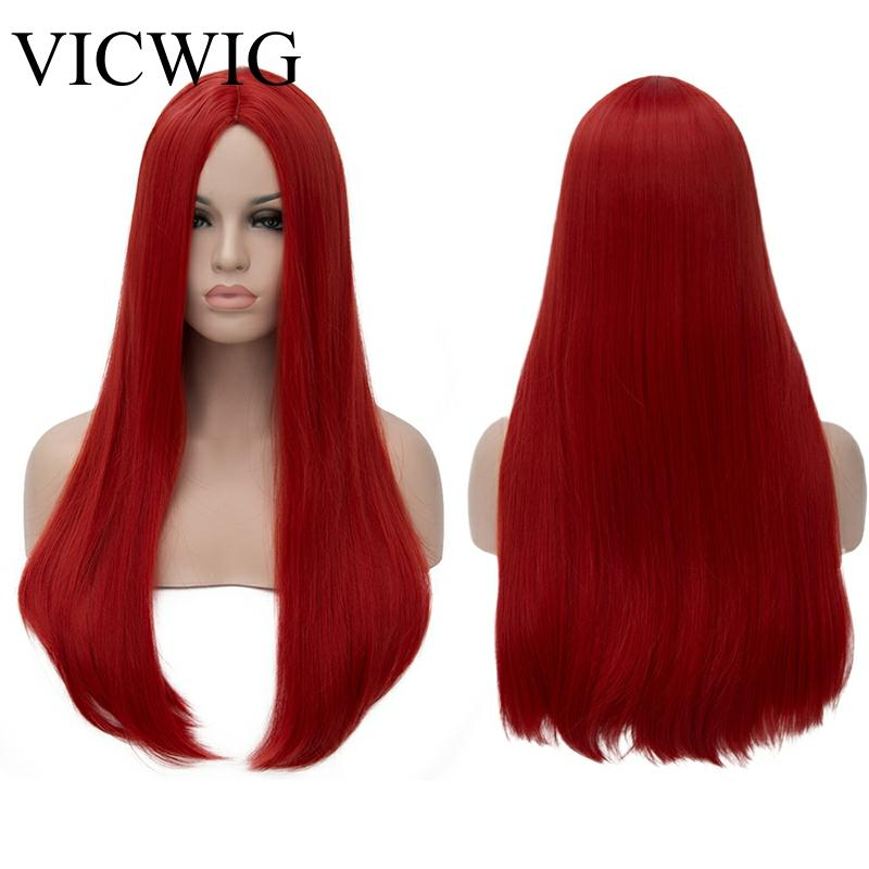 VICWIG 24 Inch Long Straight Hair Red Silver Black Grey White Blonde Green Wig Synthetic   Middle Part Women WigsSynthetic None-Lace  Wigs   -