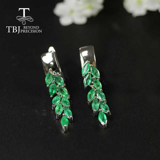 ロングナチュラルエメラルドイヤリング貴石宝石グリーンザンビアエメラルドの宝石 925 スターリングシルバー女性のための最高のギフト