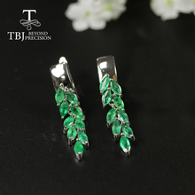 Long Natural Emerald earring precious gemstone green zambia emerald jewelry 925 sterling silver fine jewelry for women best gift