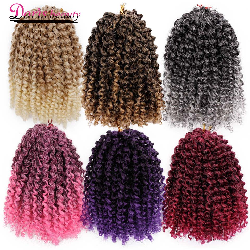 Marley Braid Curly Crochet Hair 8 Inch Ombre Braiding Hair Extensions Synthetic Crochet Braids Brown Brown Color