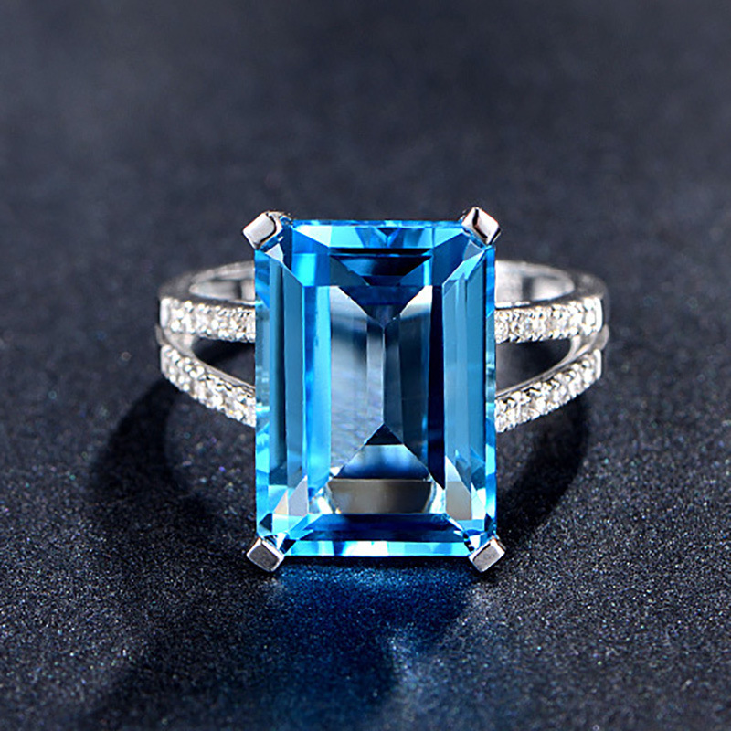 Vintage Ring Women Silver 925 Jewelry with Square Blue Aquarium Gemstones Women Party Wholesale Gift Zircon Wedding Bands