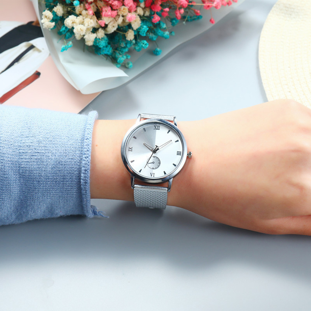 Wrist Watch Men Women Round Sub Dial Mesh Band Roman Numerals Analog Quartz Wrist Watch/Women Bracelet Watches/Pin Buckle Watch