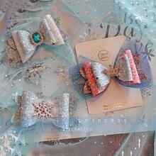 6 ピース/ロットプリンセスクラウンヘアクリップ甘い色グリッターダイヤモンド Hairbows メッシュ装飾ヘアピン女の子パーティーヘアアクセサリー