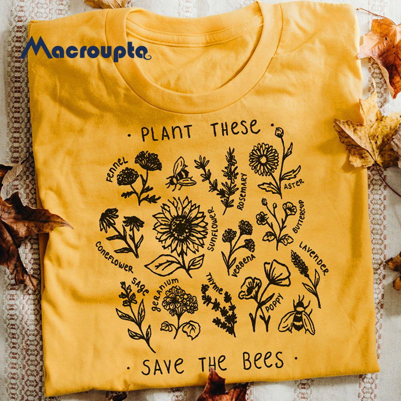 Graphic Tees Bees t-Shirt Wildflower Unisex Clothes Plant These Save Cotton Women Causal