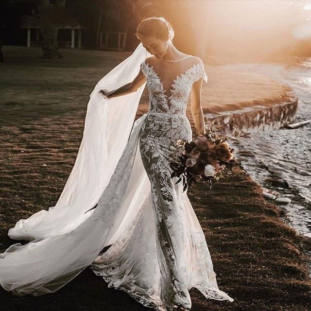 UMK High end Lace Mermaid Wedding Dress 2020 Sexy Backless Short Sleeve Detachable Train Wedding Gowns